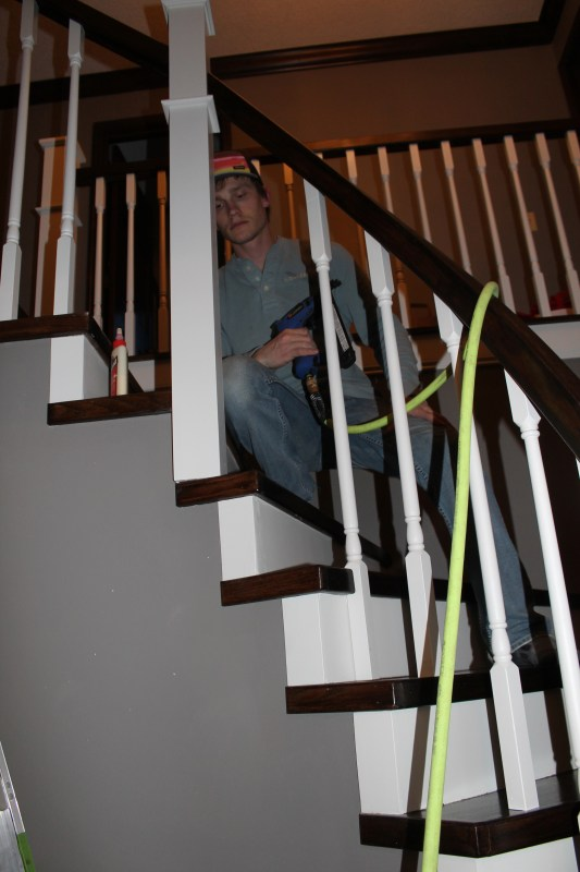installing new stair railing spindles - Construction2Style via @Remodelaholic