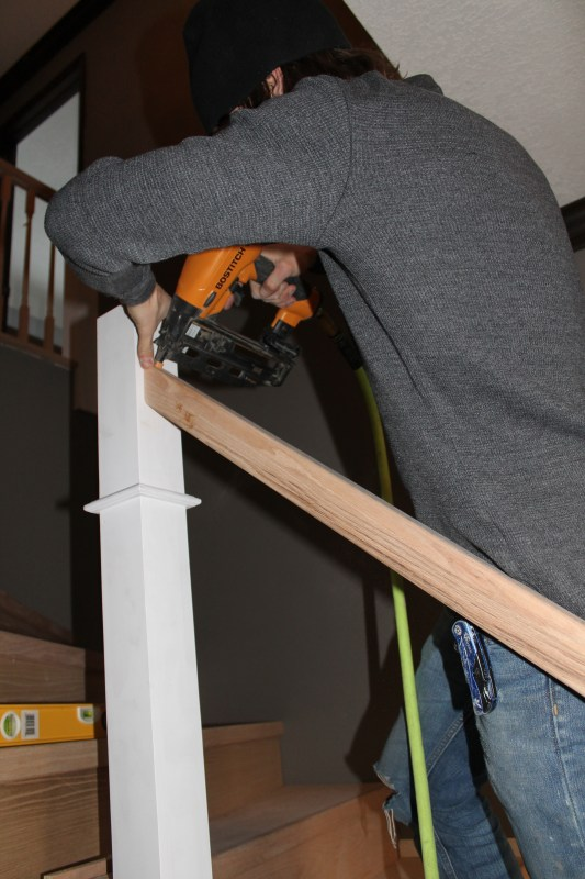 installing new wood handrail on stairs - Construction2Style via @Remodelaholic