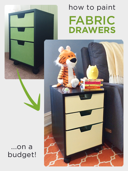 painted fabric drawers - Rather Square via @Remodelaholic