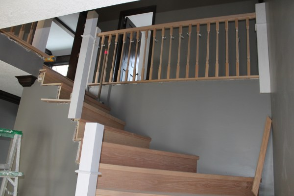 replacing stair handrail with wood posts - Construction2Style via @Remodelaholic