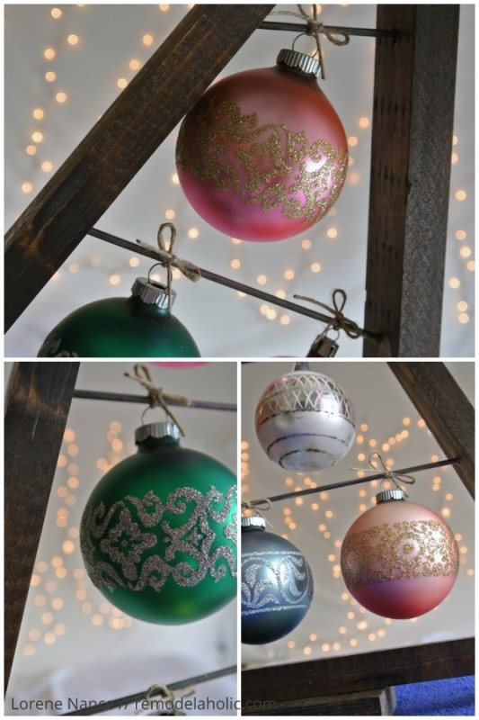 vintage glass ornaments on a knock-off Crate and Barrel ornament tree display | Knockoff the Crate and Barrel wood ornament display tree for a fraction of the price using these free plans! Use it as an advent calendar or as a replacement for a traditional tree. Perfect for vintage and special ornaments. #remodelaholic #christmasdiy #diyChristmastree