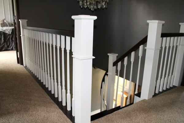 wood staircase and handrail remodel - Construction2Style via @Remodelaholic