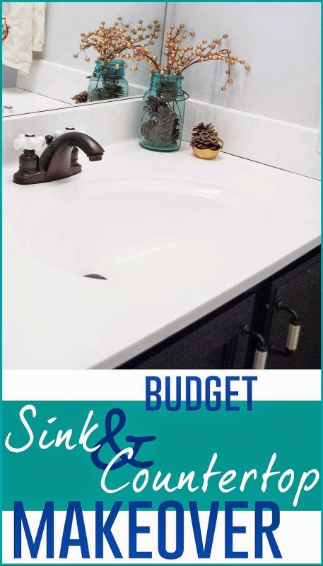 Budget-Friendly Sink and Countertop DIY Makeover - I'm Flying South featured on @Remodelaholic