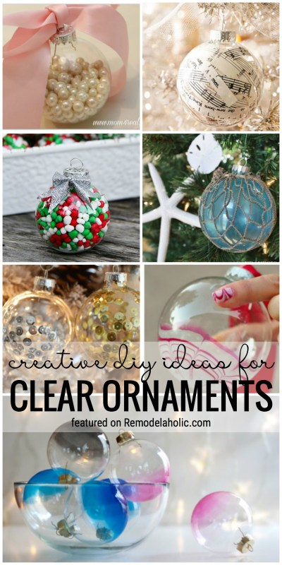 Create Your Own Look For Your Tree With One Of These 35+ Creative DIY Ideas For Clear Ornaments At Remodelaholic.com