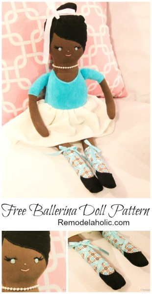 Free Ballerina Doll Pattern, Great to make for a budget friendly gift! #ballerina #doll #pattern @remodelaholic