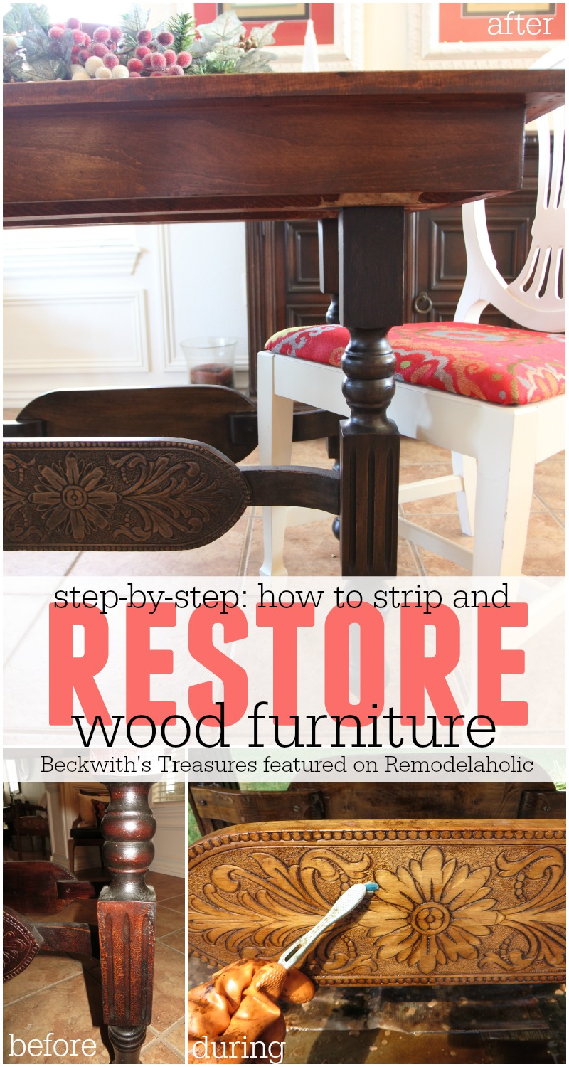 How To Strip And Restore Wood Furniture   Beckwithu0027s Treasures Featured On  @Remodelaholic #refinish