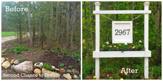 before and after house number planter box DIY - Second Chance to Dream featured on @Remodelaholic