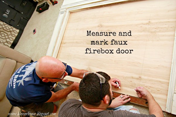 firebox door for faux fireplace - Blesser House featured on @Remodelaholic