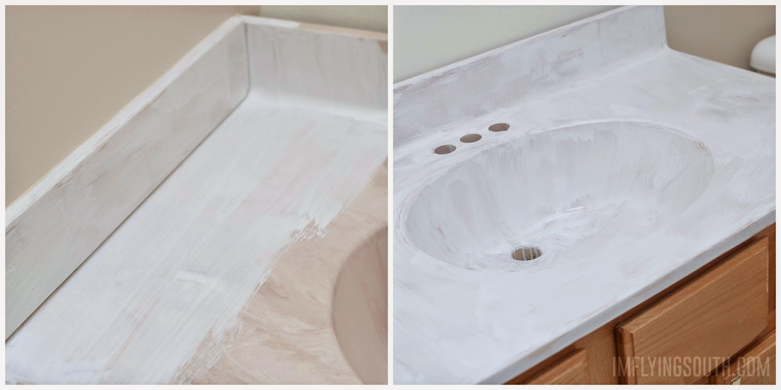 painted bathroom sink and countertop