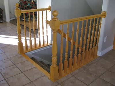 old banister before DIY newel post - TDA Designs featured on @Remodelaholic