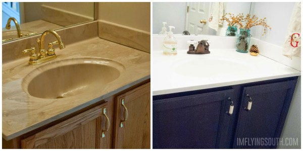 painted bathroom sink tutorial before and after - I'm Flying South featured on @Remodelaholic