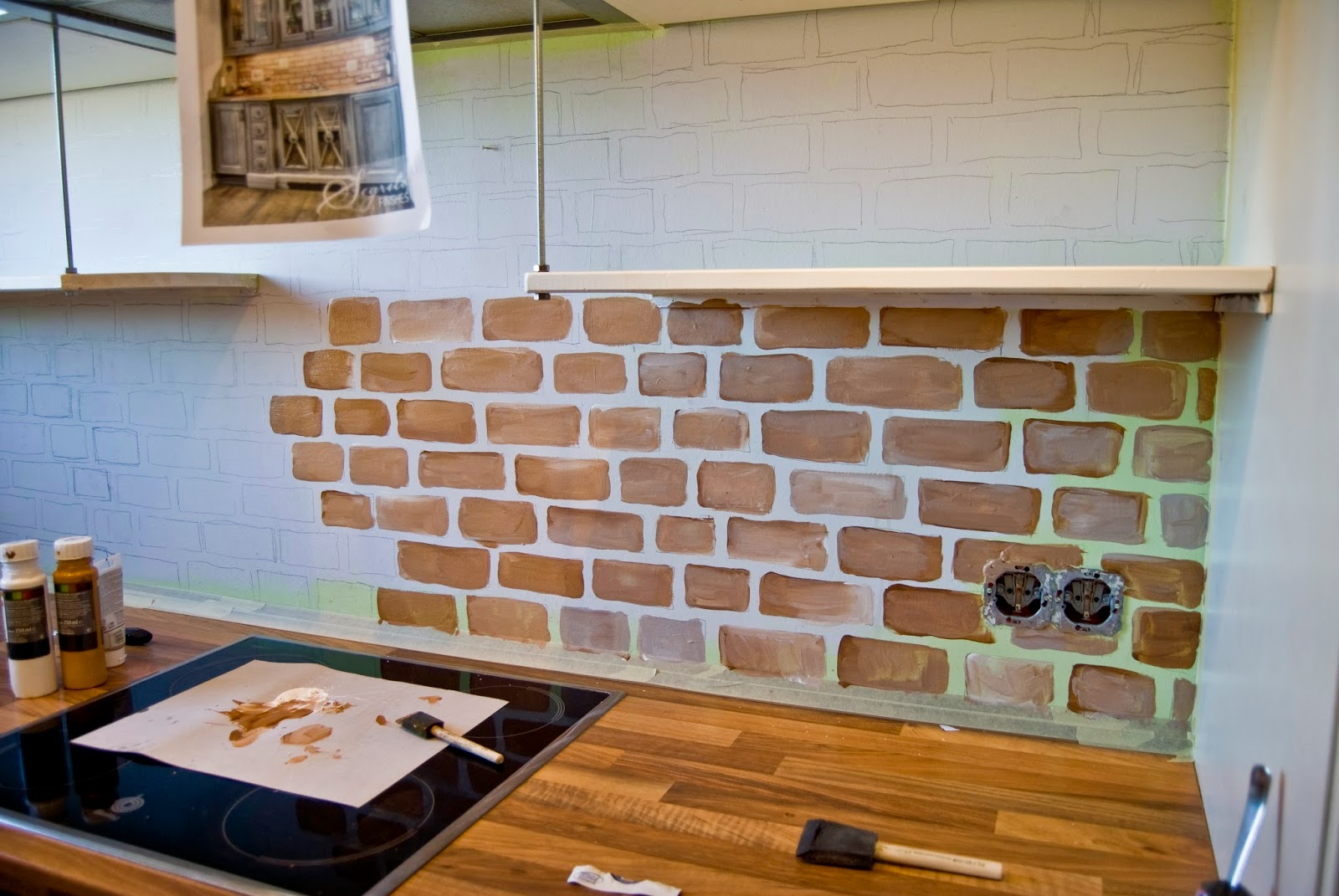 - Remodelaholic Tiny Kitchen Renovation With Faux Painted Brick