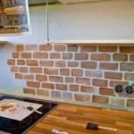 Remodelaholic Tiny Kitchen Renovation With Faux Painted Brick Backsplash