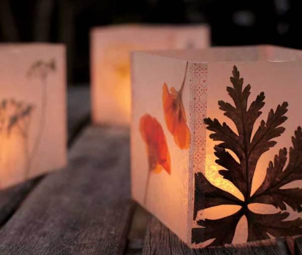 pressed flower luminary - Mother Earth Living via @Remodelaholic
