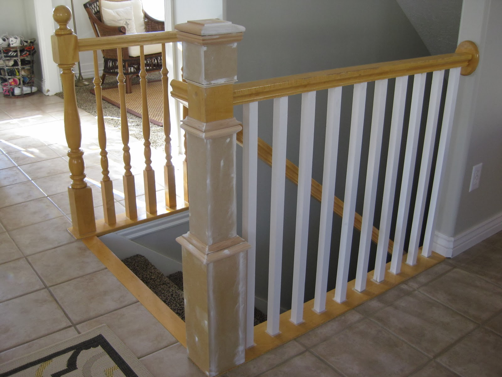 Replace Stair Banister Spindles And Newel Post DIY   TDA Decorating And  Design Featured On @