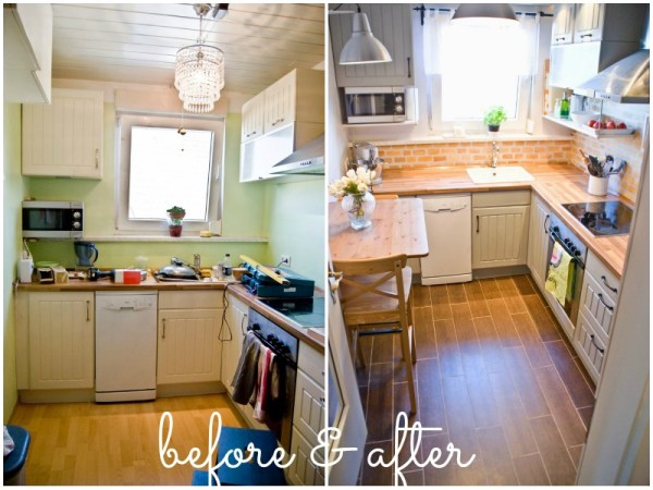 tiny kitchen reno before and after - Pudel-design featured on @Remodelaholic