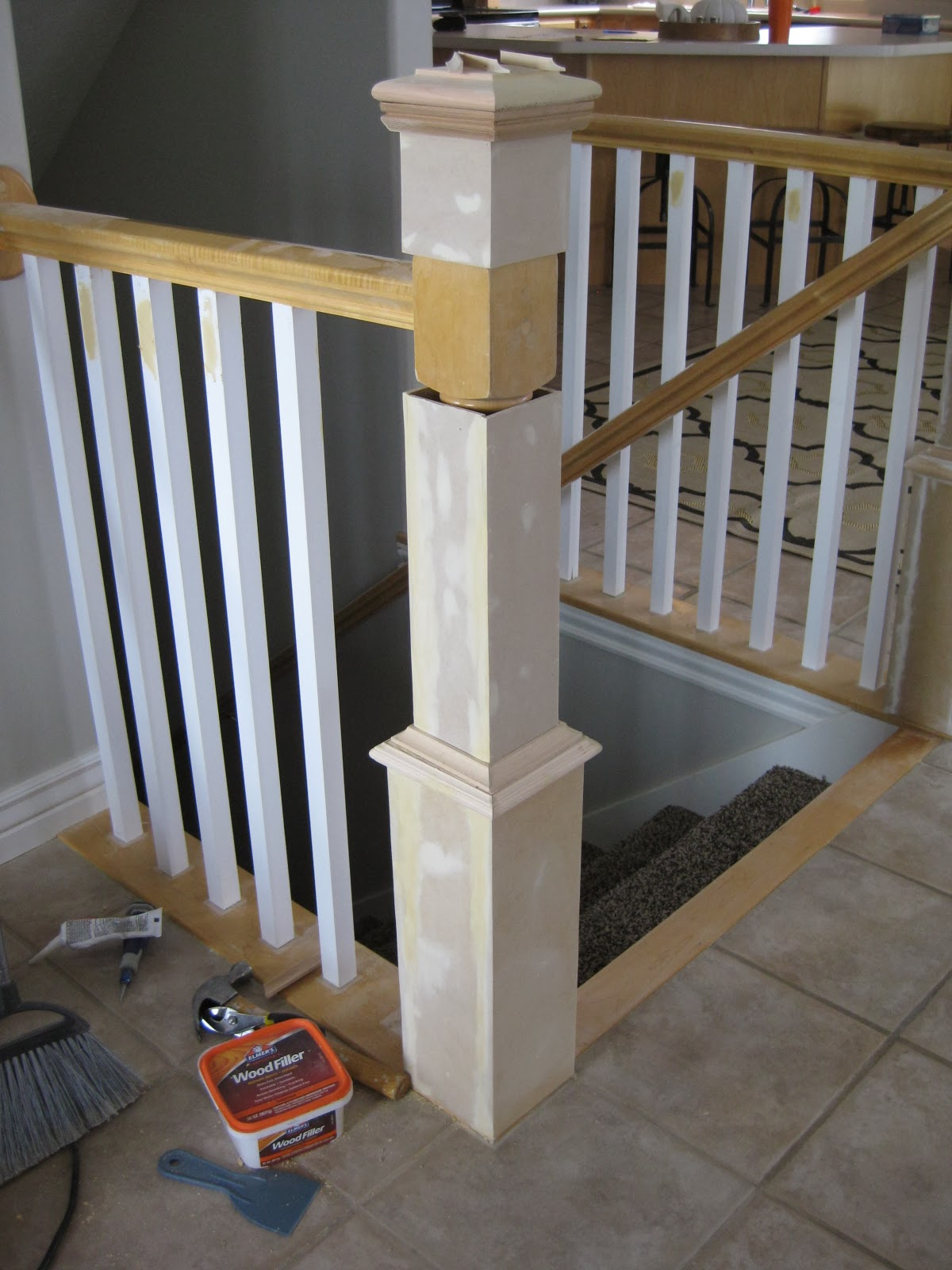 Remodelaholic stair banister renovation using existing newel post update a banister with diy newel post and spindles tda decorating and design featured on solutioingenieria Gallery