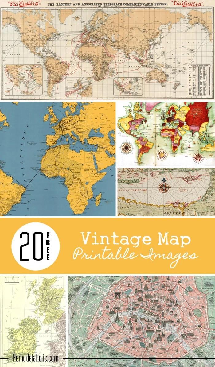 Remodelaholic | 20 Free Vintage Map Printable Images