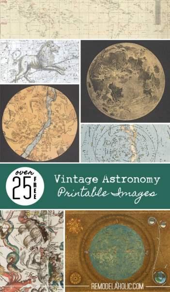 25 Free Vintage Astronomy Printable Images | Remodelaholic.com #printables #art #vintage