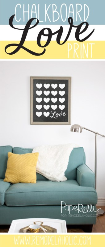 Chalkboard Love Printable Poster, Valentine's Day Wall Decor