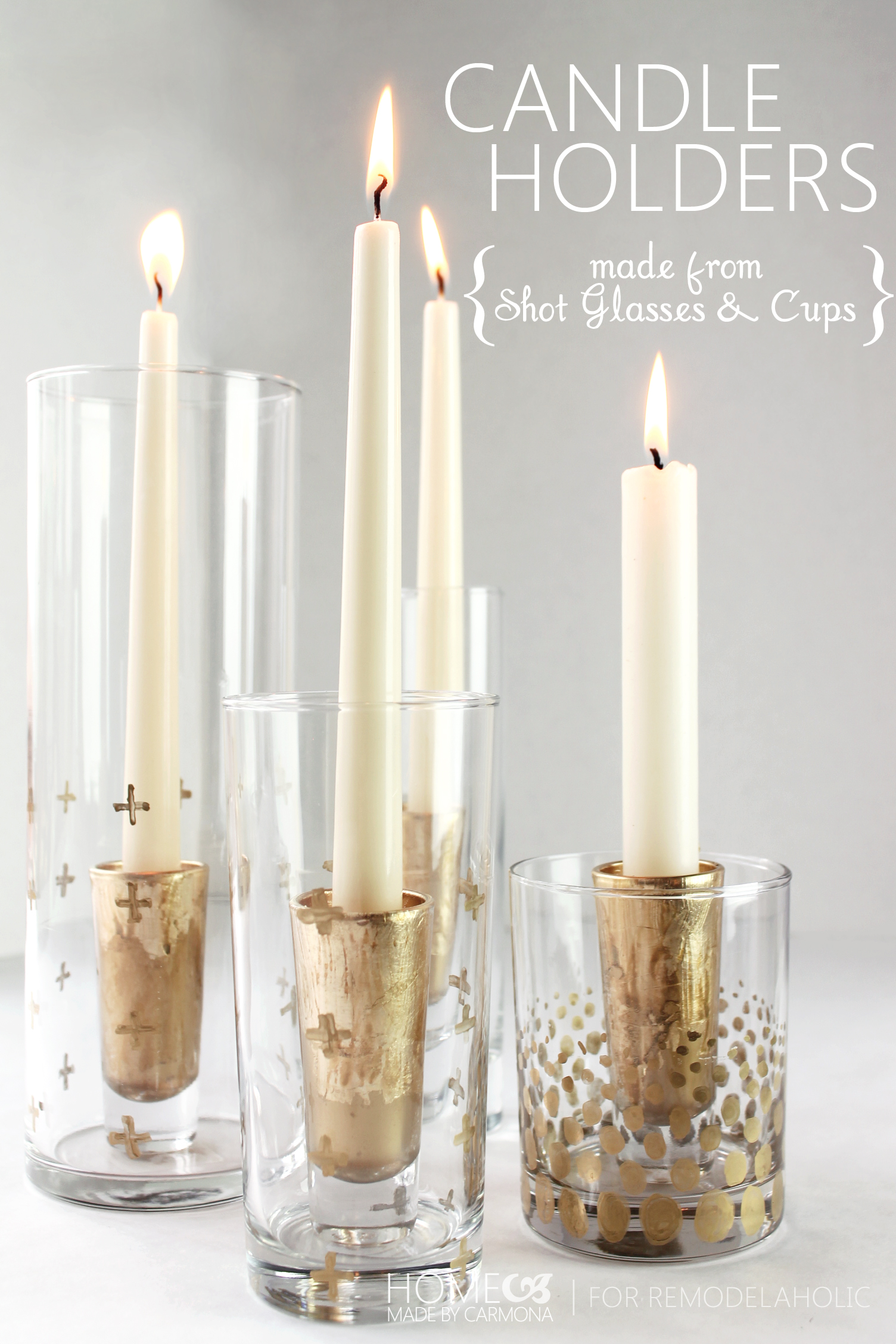 diy candle holders made from shot glasses home made by carmona for remodelaholic - Diy Candle Holders