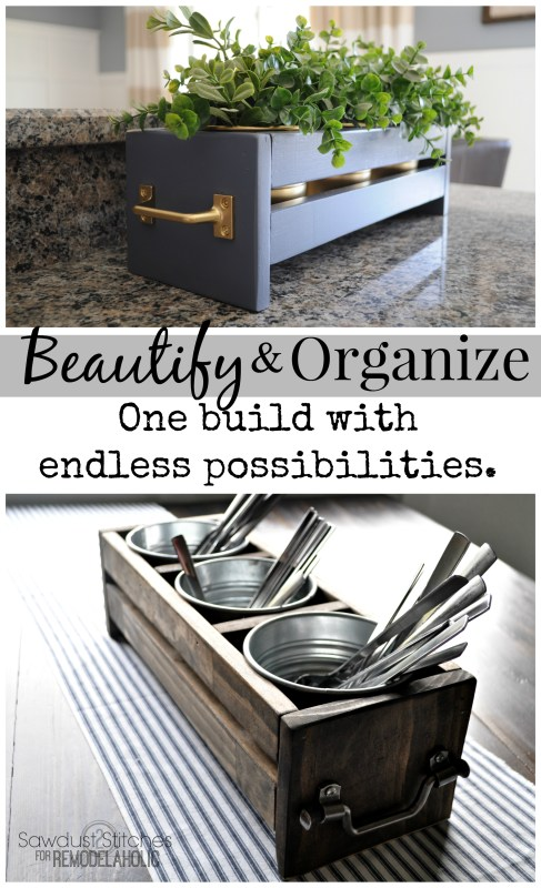 Build an organizer to hold 3 IKEA tin buckets! Sawdust2stitches for Remodelaholic.com