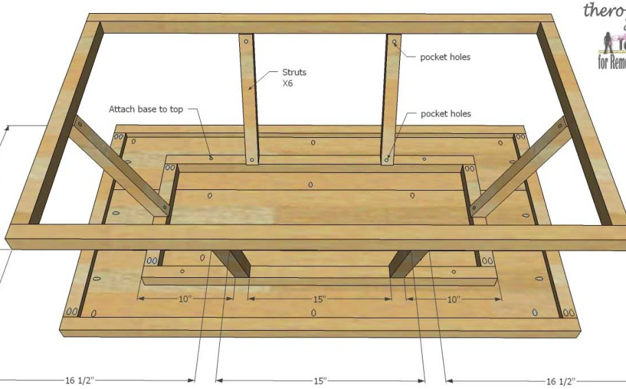 Trestle Door Coffee Table-attach bases and struts