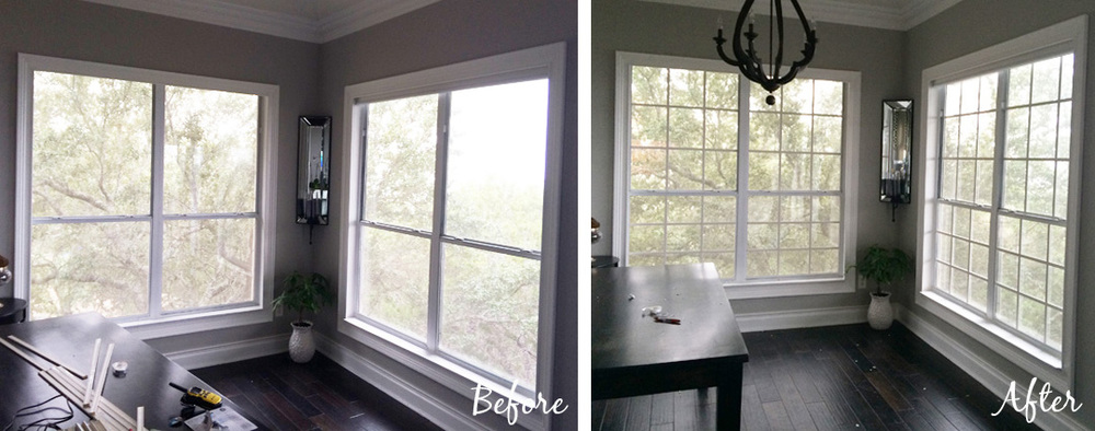 diy faux window grids before and after - The Rozy Home featured on @Remodelaholic