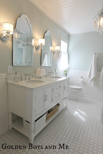 elegant spacious master bath remodel - Golden Boys and Me via @Remodelaholic
