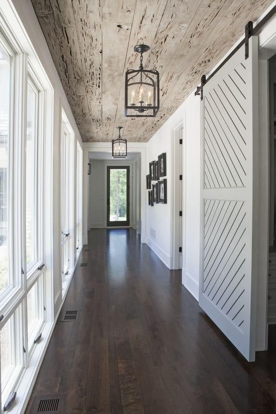 rustic hallway, mixing wood tones @Remodelaholic