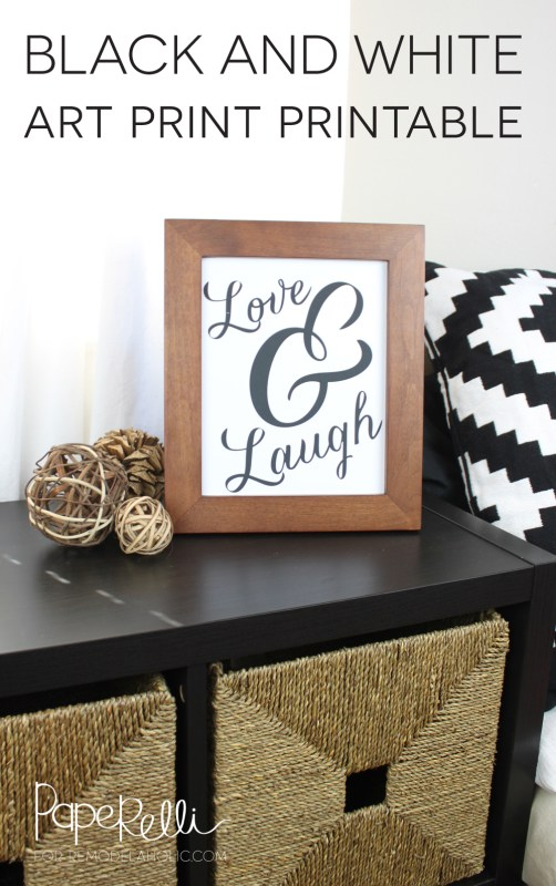 Love & Laugh | Free Black and White Art Print - by Paperelli on Remodelaholic.com