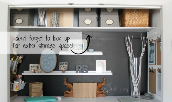 Closet office with extra storage space - The Crazy Craft Lady featured on @Remodelaholic