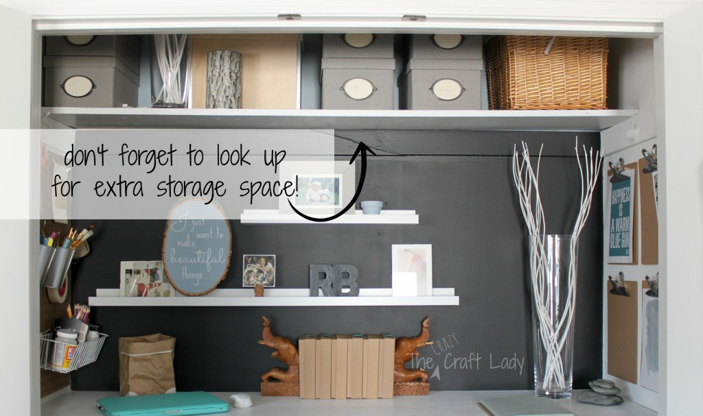 Nice Closet Office With Extra Storage Space   The Crazy Craft Lady Featured On  @Remodelaholic