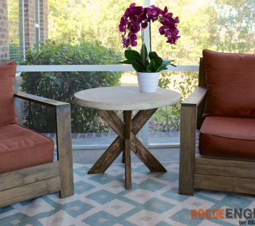 Diy X Brace Concrete Side Table Plans Rogue Engineer For Remodelaholic