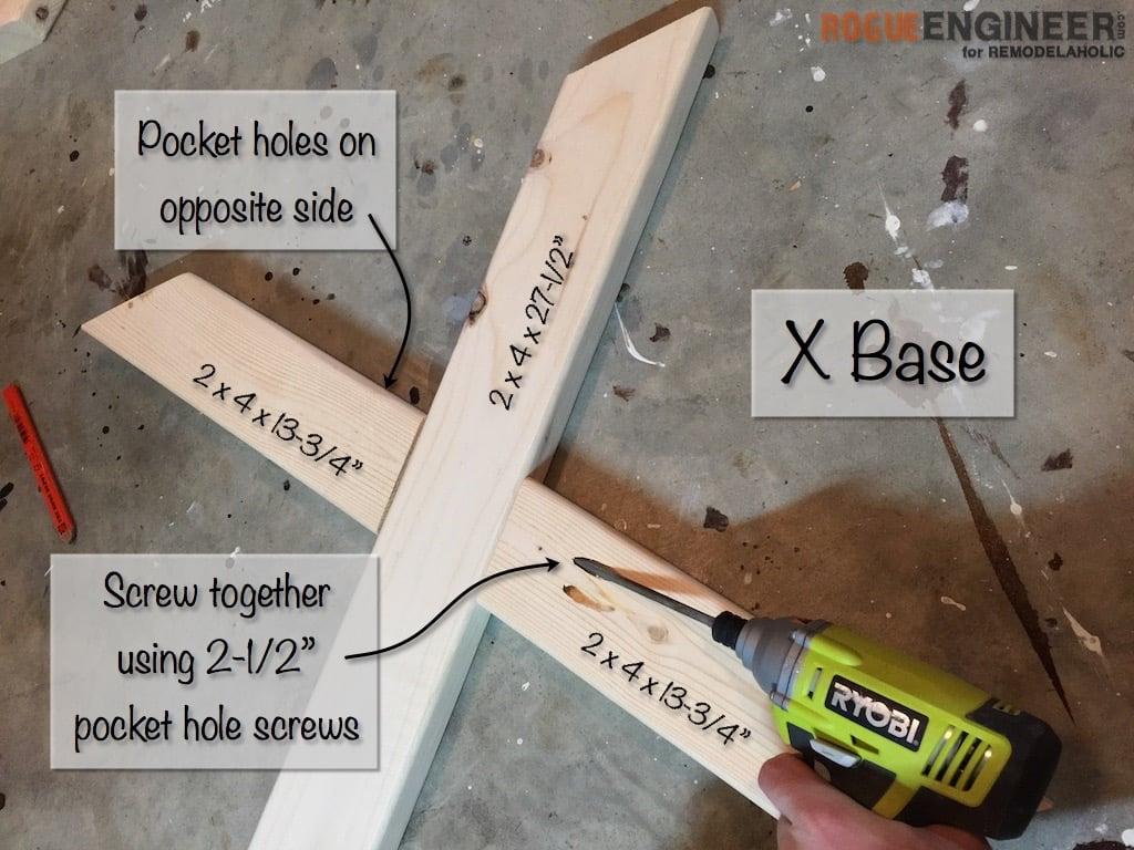 DIY X-Brace Concrete Side Table Plans | Step 3
