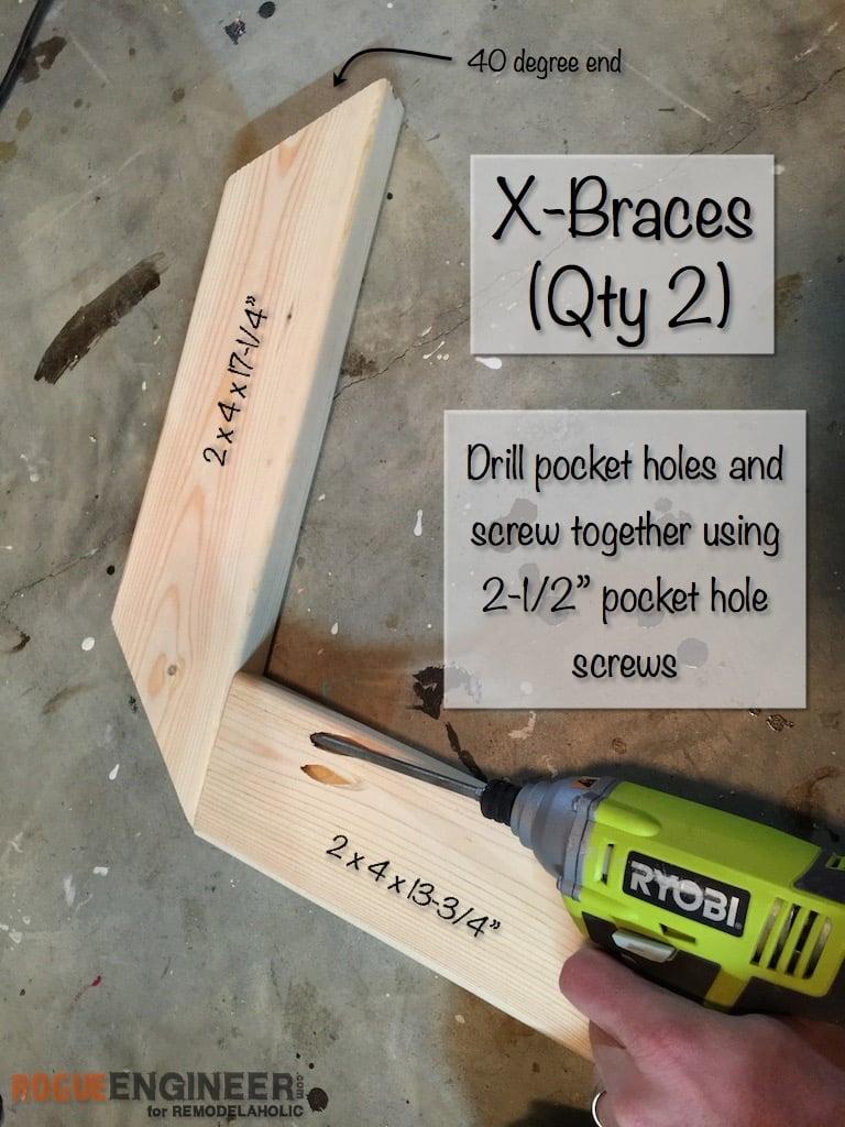 DIY X-Brace Concrete Side Table Plans | Step 4