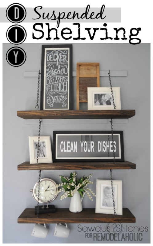 Easy DIY suspended shelving by Sawdust2stitches for Remodelaholic.com