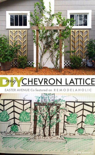 Easy to build chevron lattice to add height and interest to your flower beds for spring