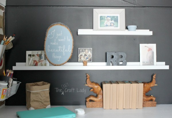 Floating shelves in a closet home office - The Crazy Craft Lady featured on @Remodelaholic