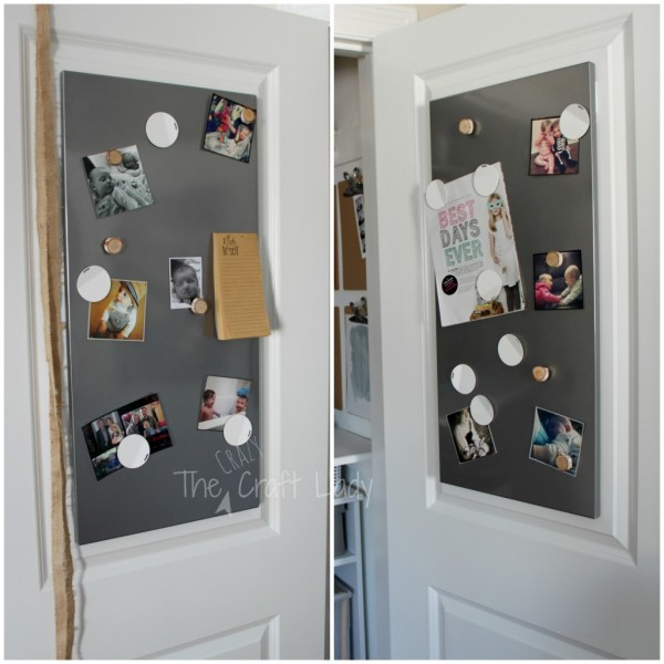 Magnetic panels for a closet home office - The Crazy Craft Lady featured on @Remodelaholic