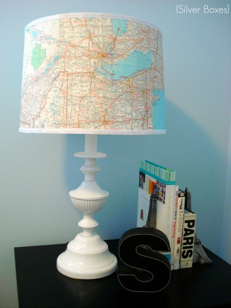 Map covered lampshade 13