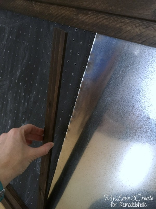 adding stained lath strip to divide panels