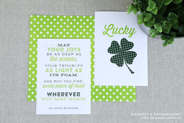 Get ready for St. Patrick's Day with these Irish inspired green wall art printables from Elegance and Enchantment, for Remodelaholic  3 free printables included