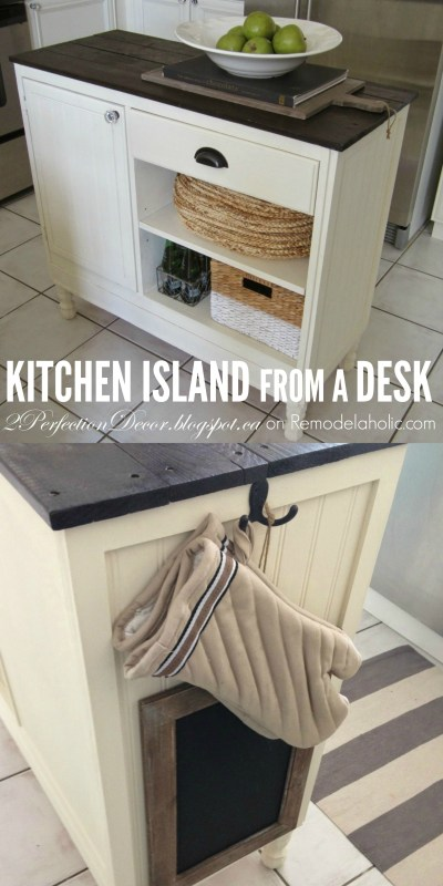 Turn a vintage desk into a kitchen island with this stylish upcycle - 2Perfection Decor on @Remodelaholic