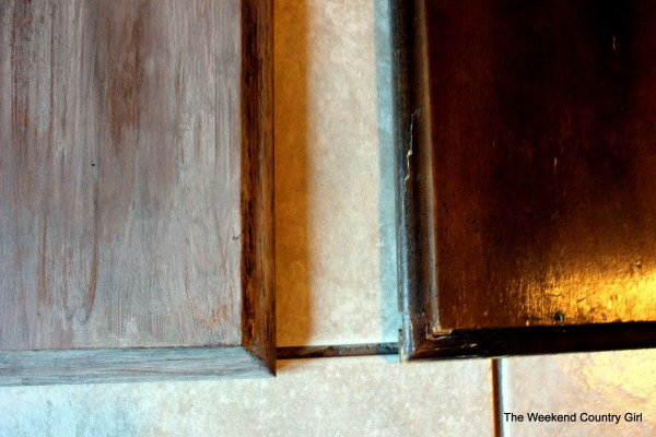 Weathered wood stain tutorail10 by The Weekend Country Girl on @Remodelaholic