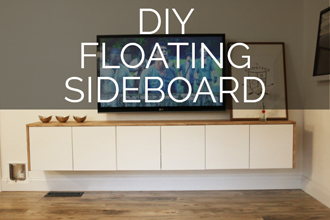 Minimal + clean lined, this IKEA hack DIY Floating Sideboard by Petite Modern Life is so great!