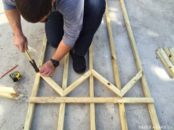 how to build a chevron lattice for garden plants, step 13 - Easter Avenue Co on @Remodelaholic