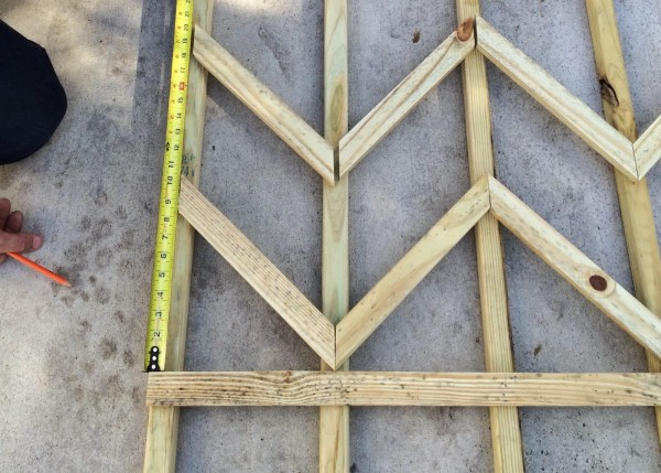 how to build a chevron lattice for garden plants, step 14 - Easter Avenue Co on @Remodelaholic