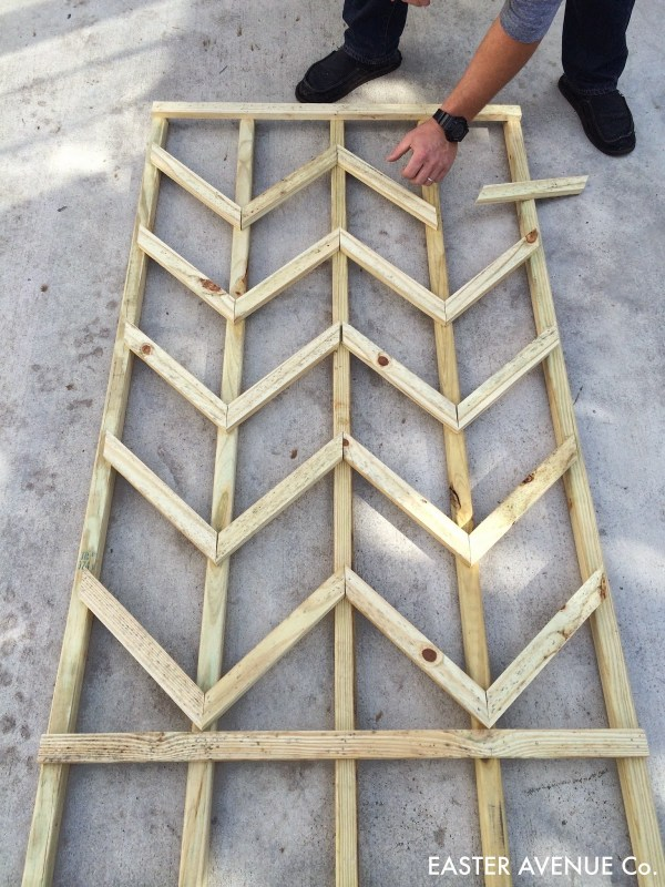 how to build a chevron lattice for garden plants, step 15 - Easter Avenue Co on @Remodelaholic