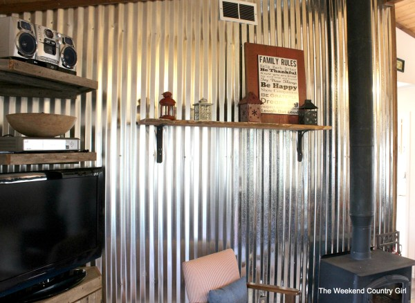 how to install a diy corrugated metal wall treatment - The Weekend Country Girl featured on @Remodelaholic
